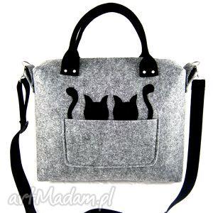 grey black cats strap, filc, kotki torebki