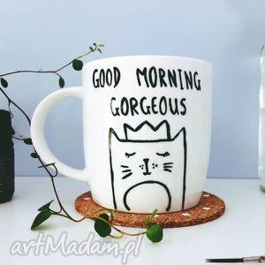 good morning gorgeous - ,kot,kubek,malowany,cat,lady,goodmorning,