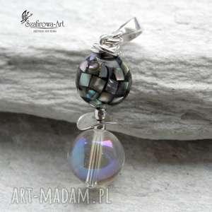 Tęczowa masa perłowa - wisior, kryształ, masa, perła, elegancki