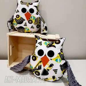 maskotki sowa w koparki, wesoła poduszka dla dziecka, prezent na urodziny