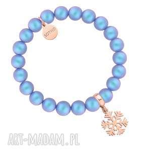 Niebieska bransoletka z pereł SWAROVSKI® CRYSTAL ze śnieżynką z różowego złota -