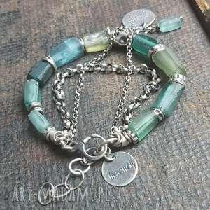 bransoletka srebrna ze szkłem antycznym, szkło antyczne, afgańskie