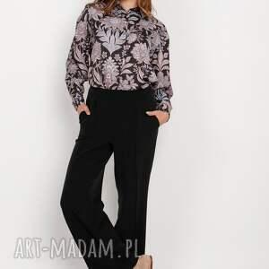 spodnie szerokie z płaskim przodem - sd124 czarny, spodnie