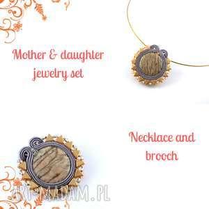Zetsaw soutache ton w ton dla mamy i córki - naszyjnik i broszka sutasz