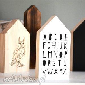 Domki drewniane, domki, domek, drewniany, alfabet, zwierzęta, sowa