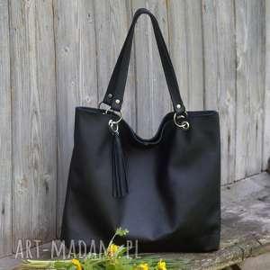 torbiszcze czarne z wkładem - torebka, skórzana, duża, praktyczna, pojemna
