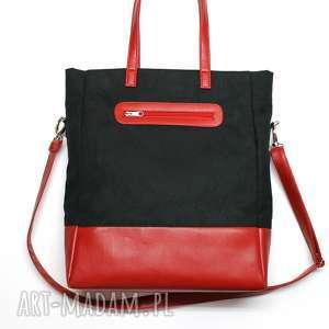 święta prezent Shopper Bag - zamsz czarny i skóra czerwona, elegancka, nowoczesna