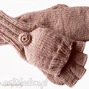 Bezpalczatki z klapką #11, rękawiczki, mitenki, klapka, dziergane, wełniane,