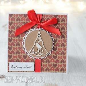 kartka świąteczna z choinką - święta, prezent