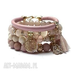 soft pink and ivory /31 08 21/ - set, kamienie, minerały, ki ka, zestaw, komplet