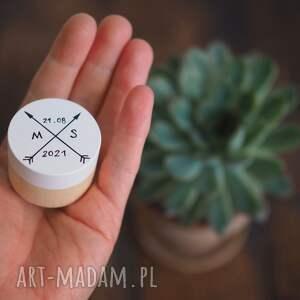 ślub pudełko na obrączki z inicjałami i datą ślubu, pudełeczko, pierścionki