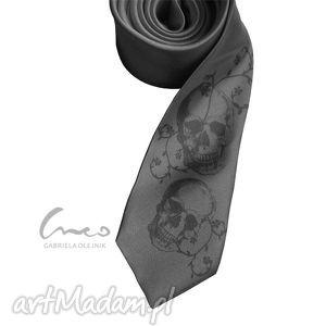 krawaty krawat z nadrukiem - czachy szary, krawat, czachy, śledź, śledzik