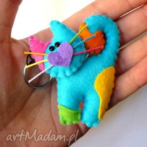 tinyart kotek - brelok z filcu, filc, kot, wąsy, serce, brelok, prezent