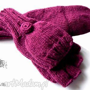 Bezpalczatki z klapką #8, rękawiczki, mitenki, klapka, dziergane, jednopalczaste