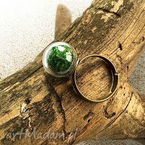 pierścionek z prawdziwym mchem - pierścinek, regulowany, szklany