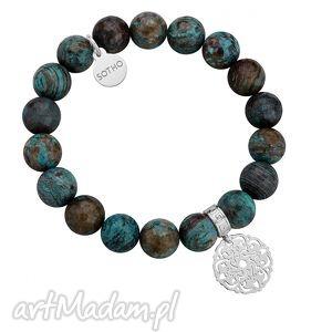 bransoletka z fasetowanego jaspisu ze srebrną ażurową - kamień