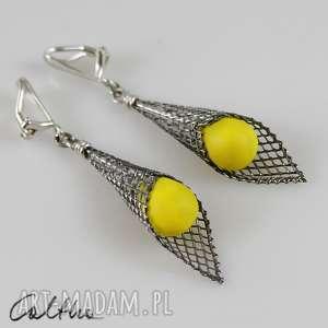żółte w rożku - klipsy, wiszące, krople, szklane, łezki, długie biżuteria