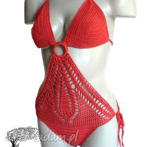Czerwone monokini, szydełkowy, bwełna, plażowy, kostium