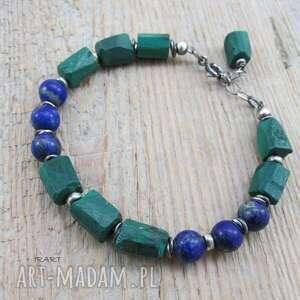 malachit z lapis lazuli - surowa bransoletka, lazuli, malachit