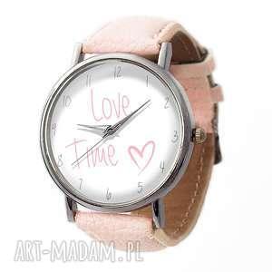 love time - skórzany zegarek z dużą - walentynkowy, romantyczny