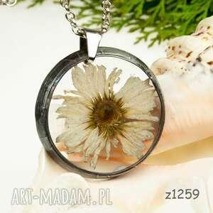 z1259 naszyjnik z żywicy z suszonymi kwiatami - naszyjnik-z-żywicy, real-flower