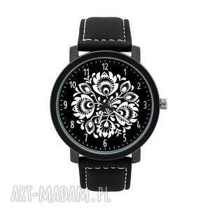 zegarki zegarek męski z grafiką folk kwiaty, folklor, ludowy, czarno biały