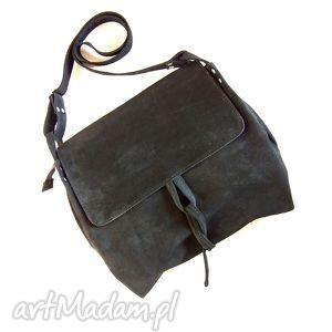 surowa baronowa czarna zamszowa, skóra, zamsz, naturalna, kobieca, miękka torebki