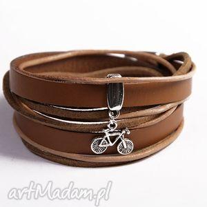 podwójna z rowerkiem, skóra, naturalna, zawieszka, rowerek, podwójna, prezent