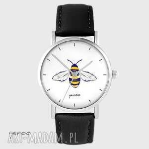 zegarek - pszczoła skórzany, czarny, zegarek, bransoletka, skórzana