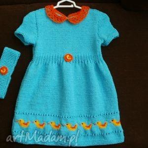 ubranka sukienka turkusowa, sukienka, bawełna, rękodzieło dla dziecka