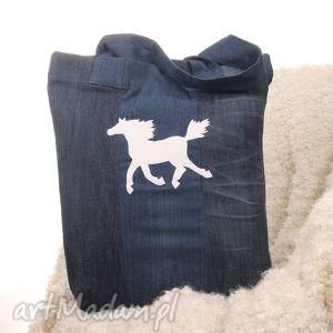 dżinsowa torba na zakupy z koniem, torba, shopperbag, dżinsowa, koń, denim