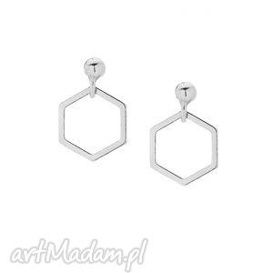 srebrne kolczyki wiszące sześciokąty - minimalistyczne, kobiece