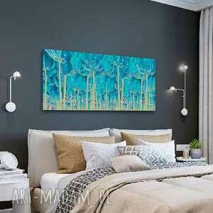 obraz z turkusem turkusowy las 100x40, nowoczesny na ścianę