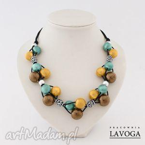 ręczne wykonanie naszyjniki naszyjnik w brązie, zieleni i żółci