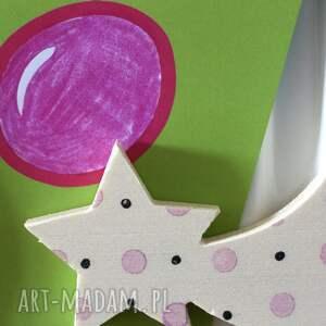 hokacraft 4 magnesy seria baby black pink, ze sklejki, z drewna, dziewczynka