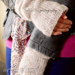 beżowe rękawki - wełna, rękawki, dziergane, moher, beż