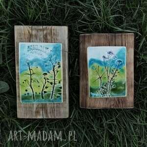 Enio Art Dwa turkusowe obrazki ceramiczne