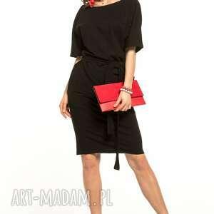 sukienka wiązana z dzianiny bawełnianej, t309, czarna, sukienka