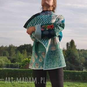 PatchworkArt - płaszcz patchworkowy - waciak - płaszcz patchwork, bawełna boho, folk