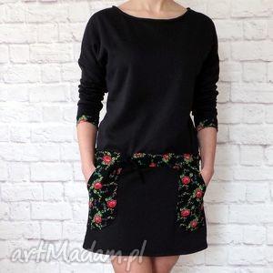 Dresowa sukienka tunika folk folklor cleo kwiaty, sukienka, dresowa, folk, góralska