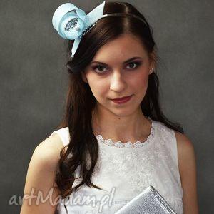 ręczne wykonanie ozdoby do włosów błękitny zawijas