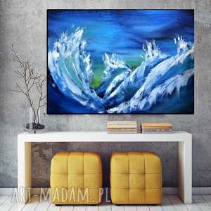 sztorm obraz do salonu - ręcznie malowany - abstrakcyjny prezent 100x70