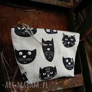 lniana kosmetyczka w kotki, kosmetyczka, koty, kot, organizer, saszetka