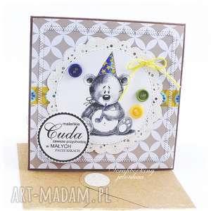 DZIECIĘCA KARTKA Z MISIEM #9, miś, dziewczynka, chłopiec, urodziny, roczek, czapka