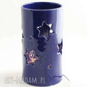 lampa ceramiczna niebo nocą led, handmade, oświetlenie