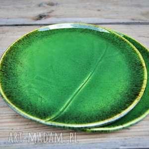 hand-made ceramika zestaw talerzy z liściem chrzanu - 2 szt