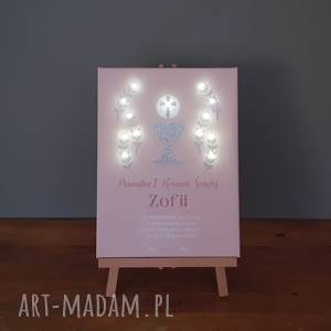 pamiątka komunii świętej obraz led srebny brokatowy prezent lampka imię