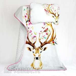 zestaw do łóżeczka kocyk i płaska poduszka jeleń - kocyk, poduszka