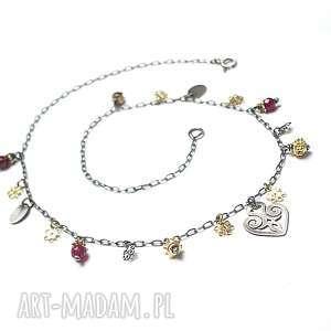 wyjątkowy prezent, choker /heart/ - naszyjnik, srebro, oksydowane, pozłacane, granaty