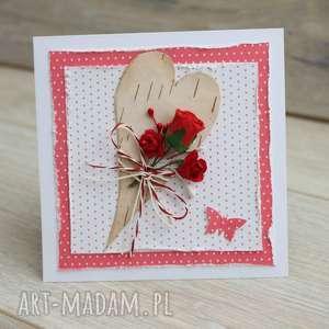 kartka z różą - brzozowe-serce, róże, serduszko, romantyvzna